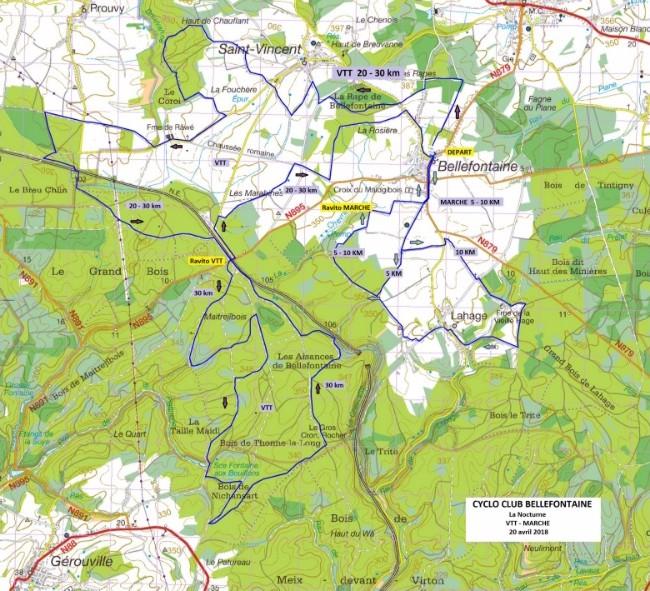 Parcours VTT et Marche nocturne du 200118 à Bellefontaine