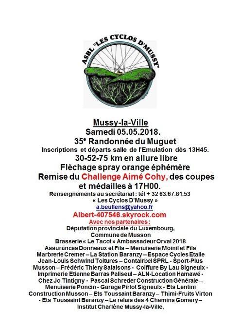 Rando cyclo a mussy la ville le 02 05 2018
